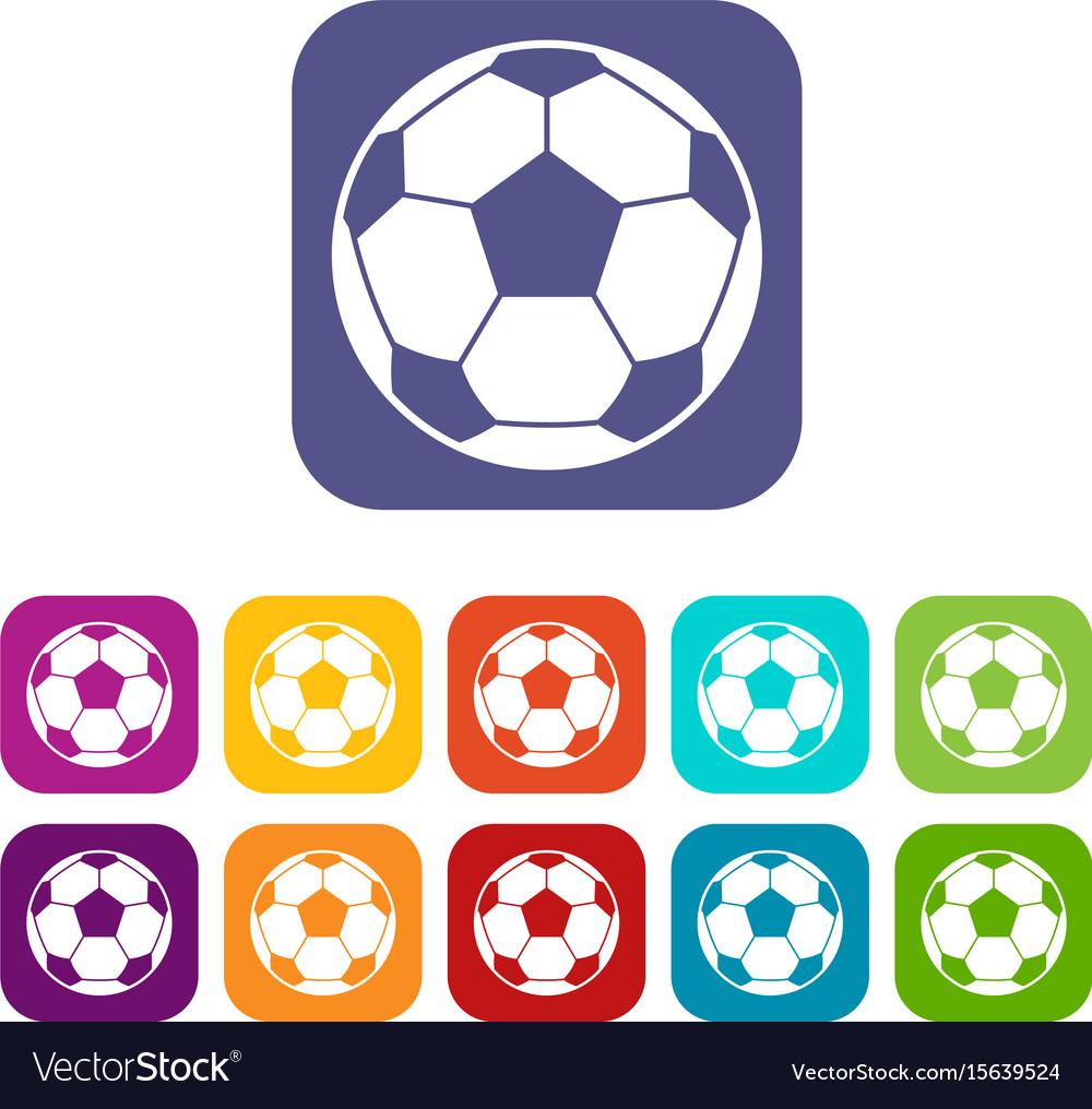 Football soccer ball icons set flat