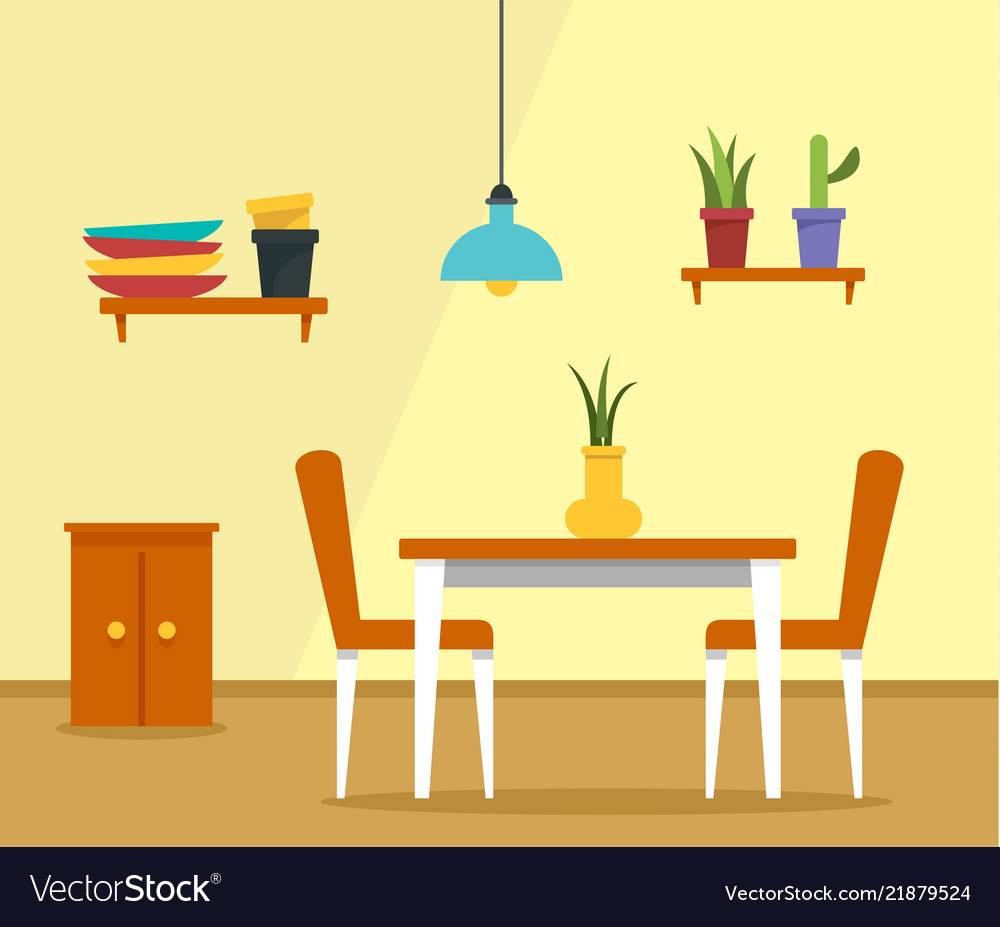 Kitchen table concept background flat style Vector Image