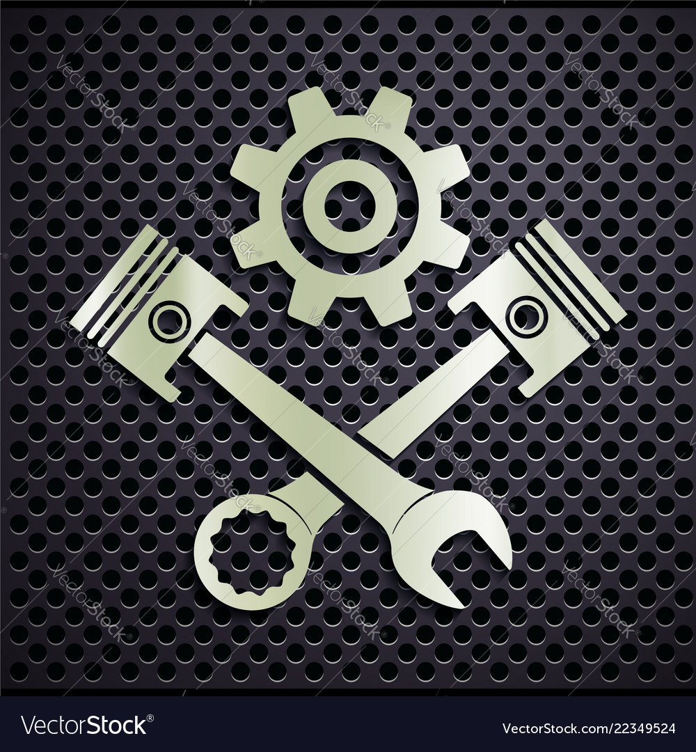 Metal emblem engine with plungers and a wrench