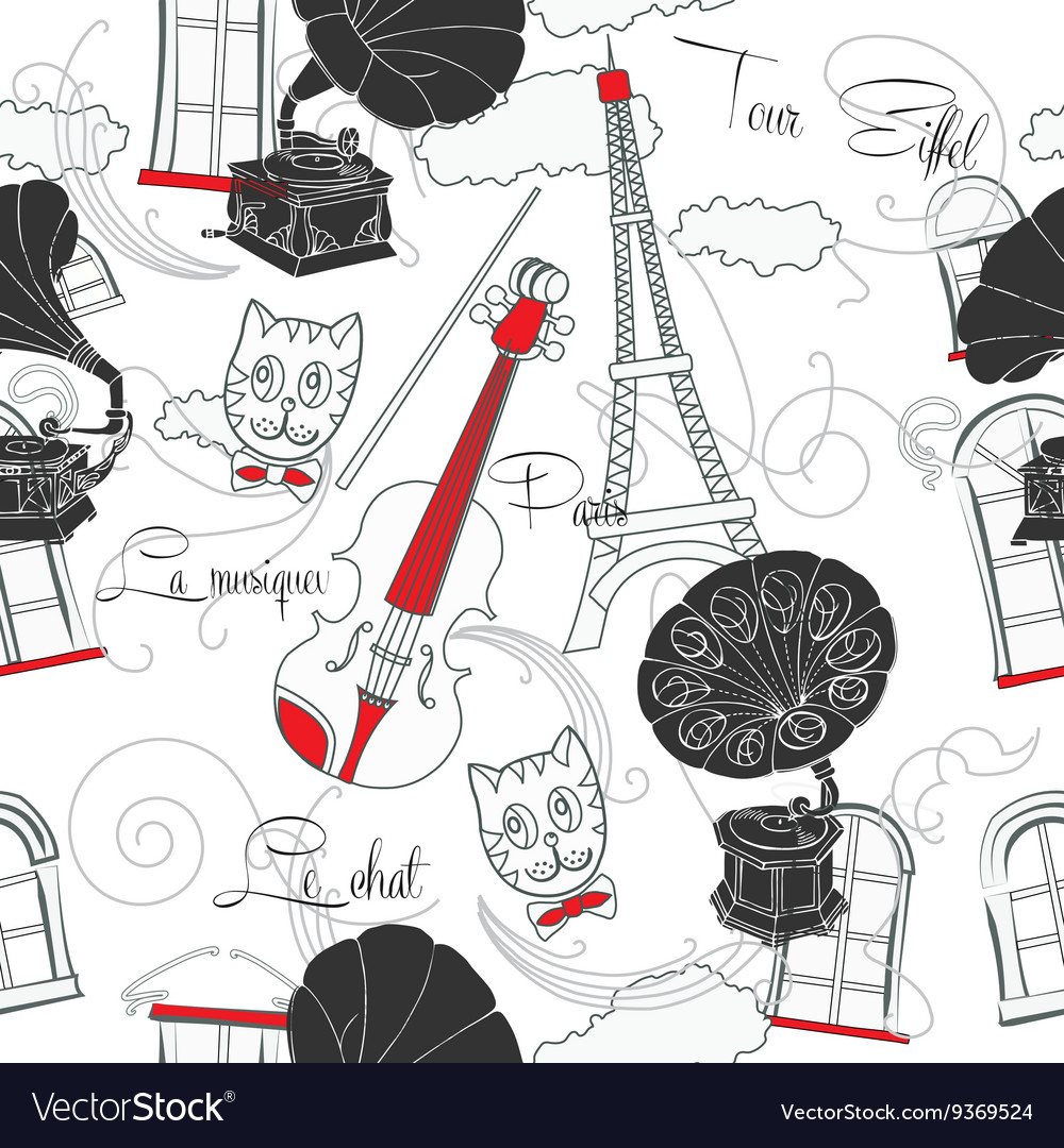 Seamless pattern with Paris and gramophones