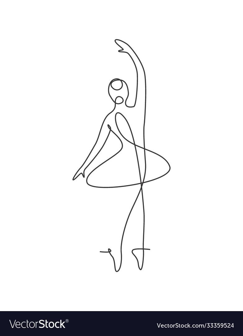Single continuous line drawing pretty ballerina