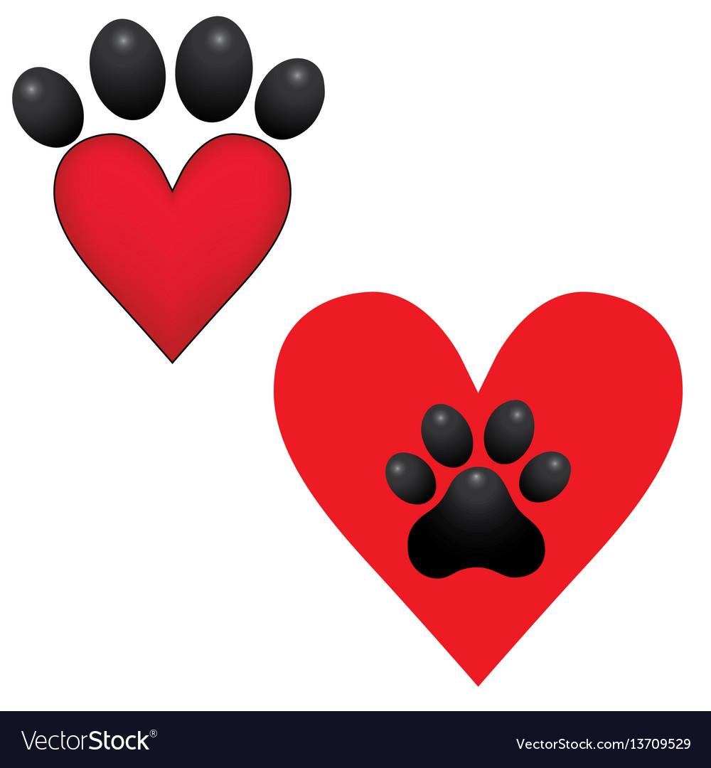 Adopt dog paw heart animal help Royalty Free Vector Image