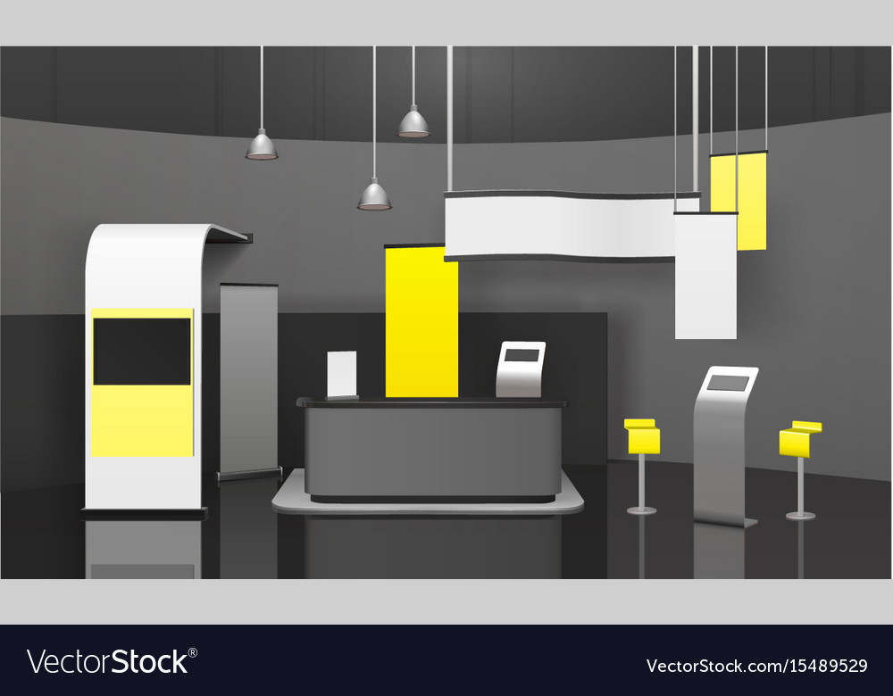 Small Exhibition Stand Vector : Advertising exhibition stand d mockup royalty free vector