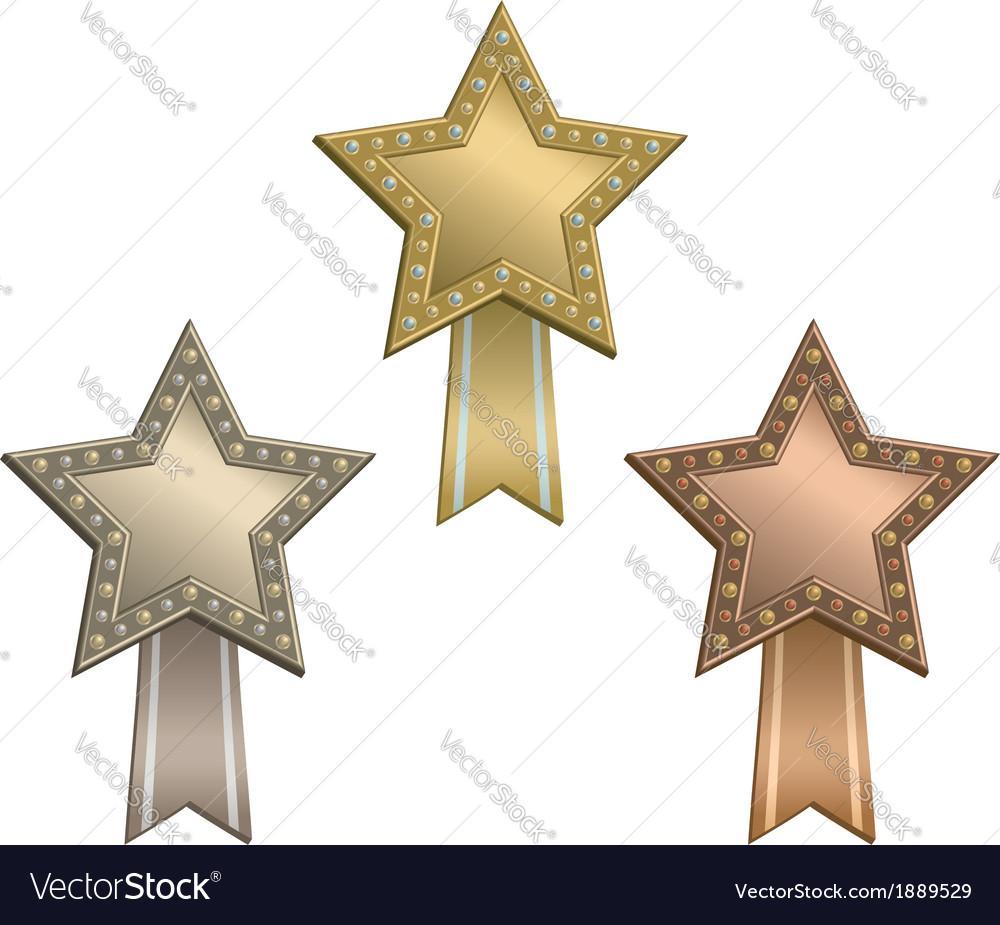 Award star ribbon vector image