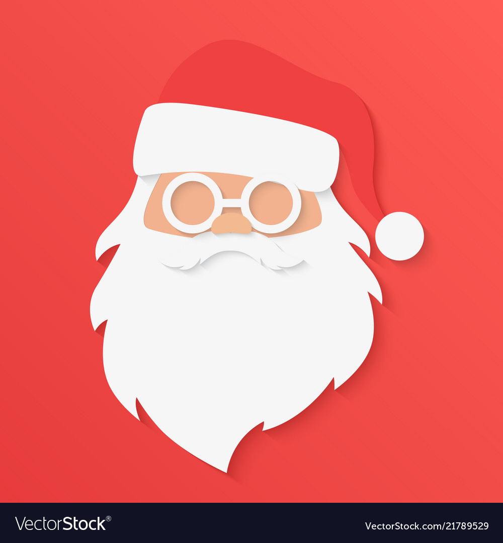 Christmas Greeting Card Santa Claus Portrait Face Vector Image