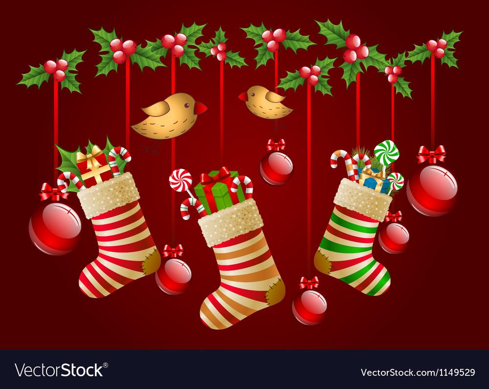 Hanging Christmas Socks With Present And Balls
