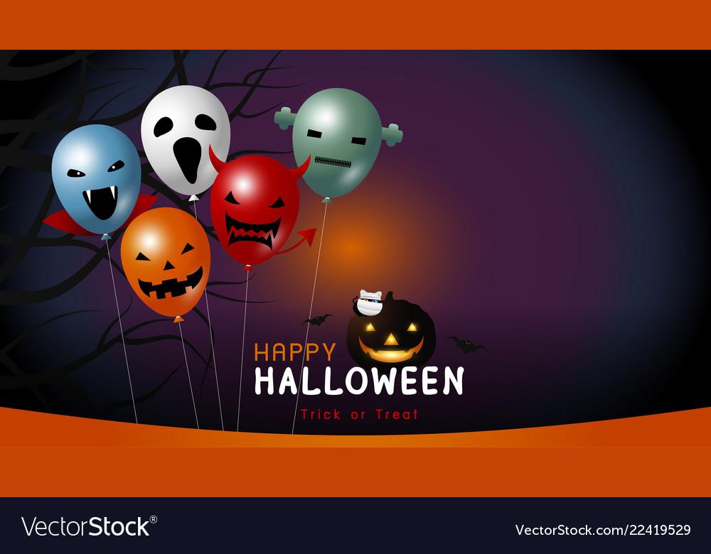 Happy halloween banner design of balloon