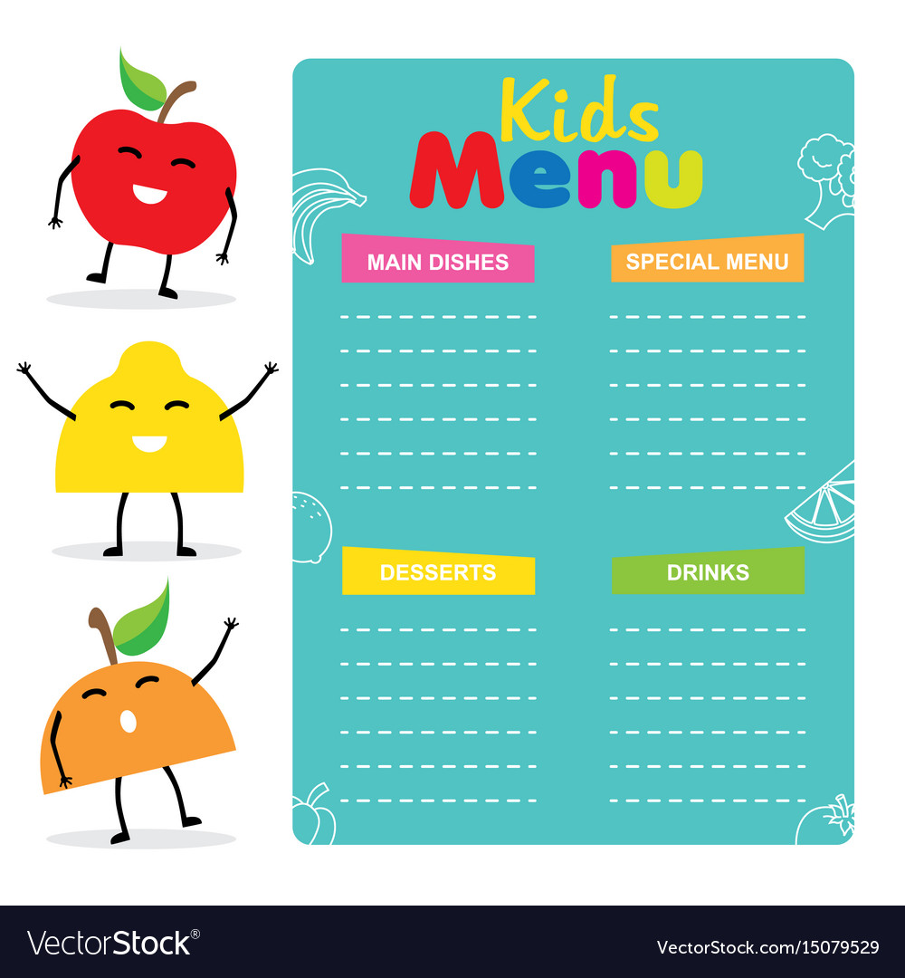 kids menu template royalty free vector image vectorstock