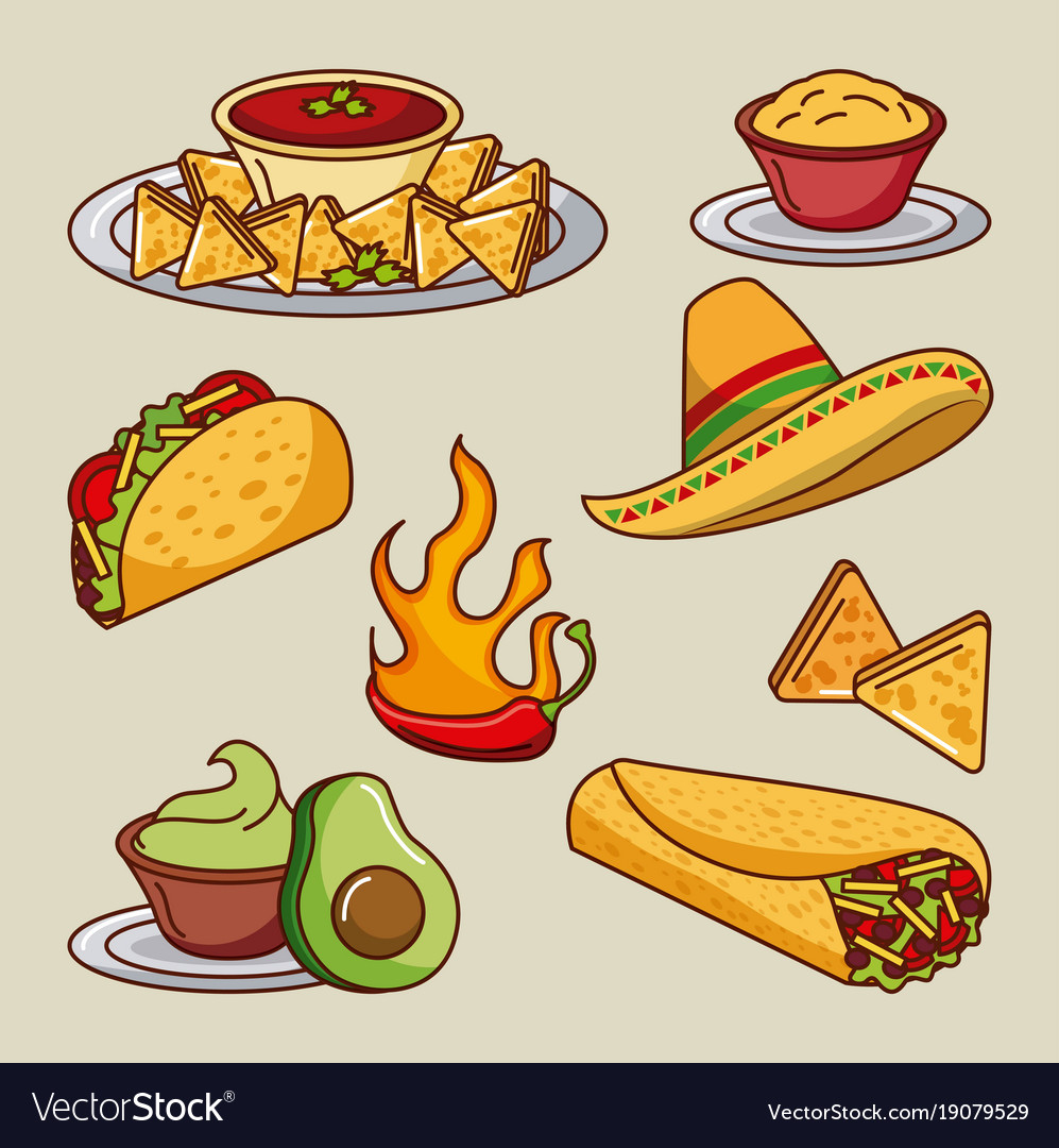 mexican food set icons menu ingredients spicy vector image