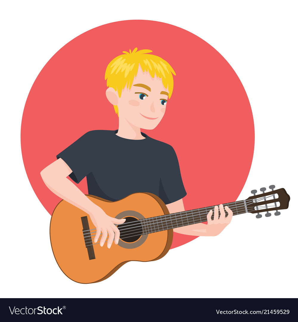 Musician playing guitar blonde boy guitarist is