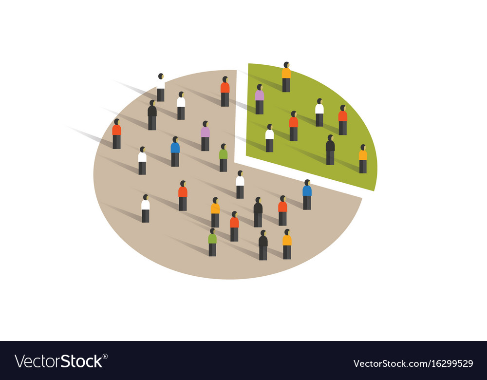 People Crowd Pie Chart Group Graphic Sampling Vector Image
