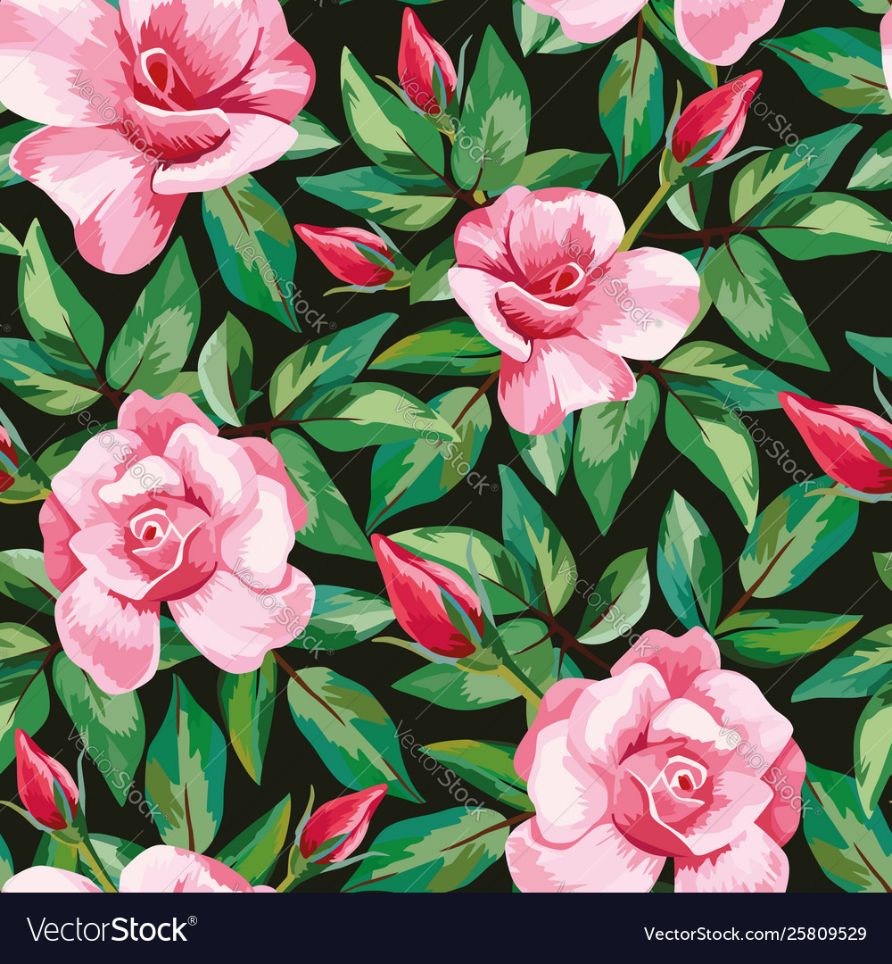 Rose pattern seamless black background