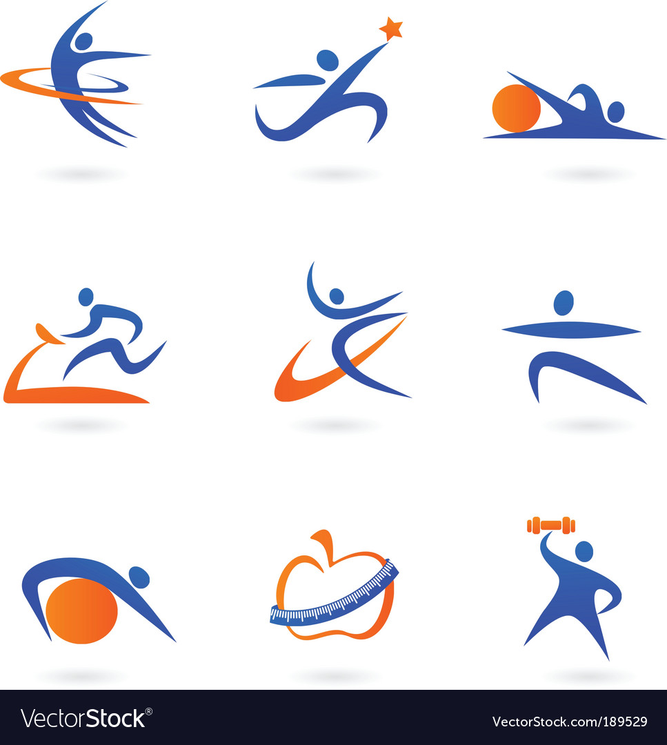 Sport and fitness silhouette vector image
