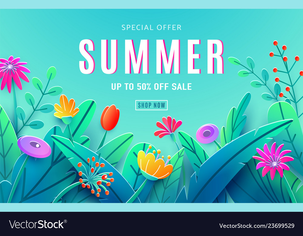 Summer sale ad background with paper cut fantasy