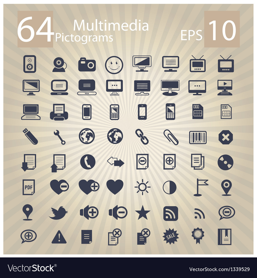Technology multimedia symbols set