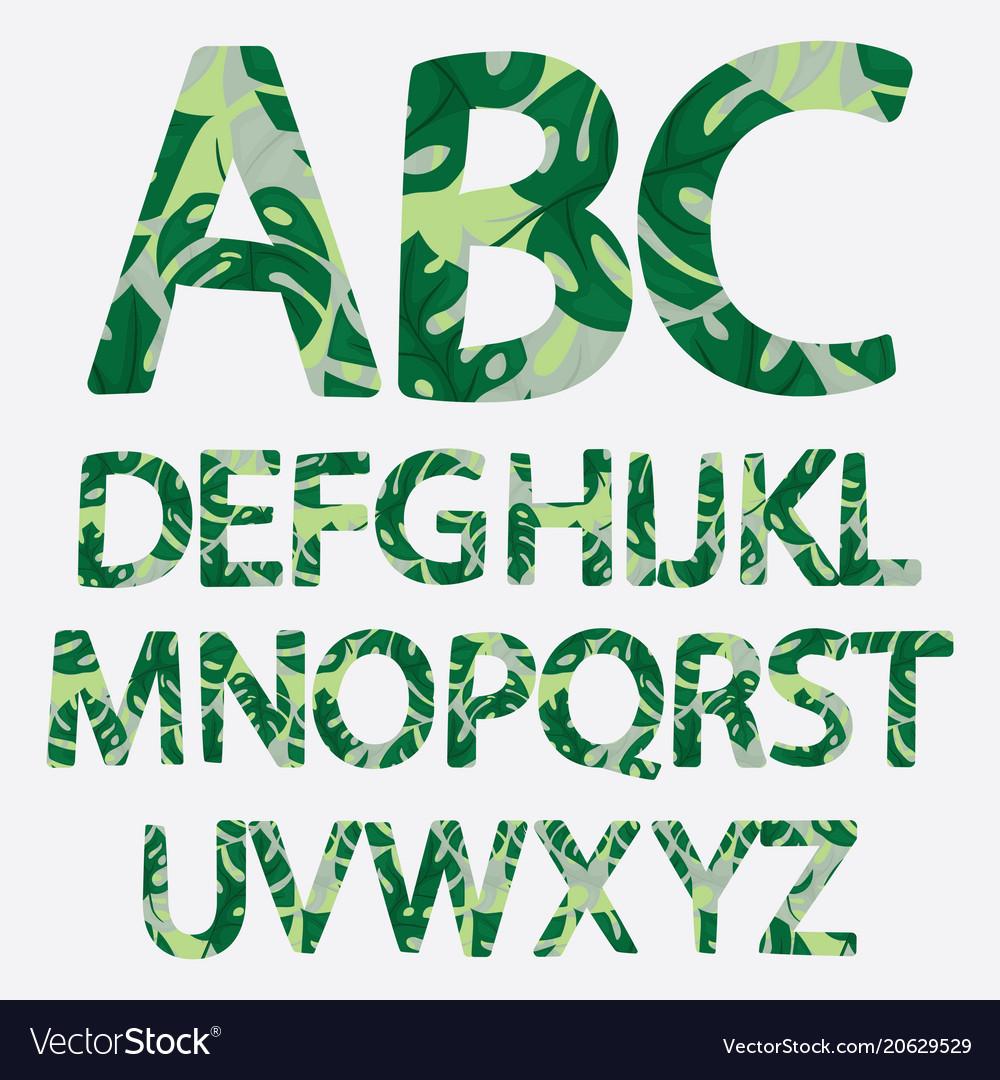 Tropical alphabet made of banana palm leaves