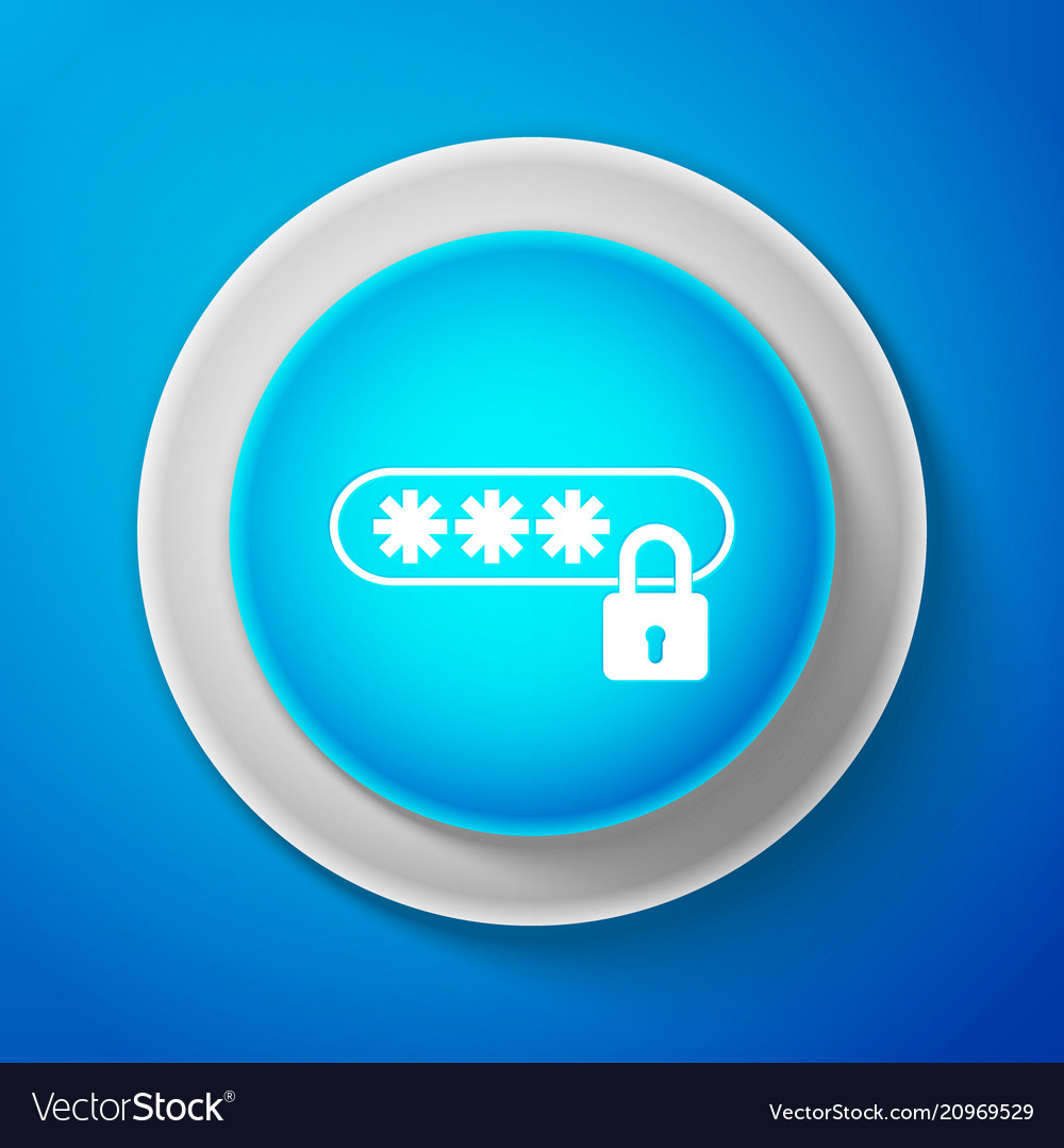 White password protection icon on blue background