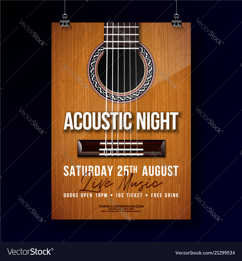 Acoustic night party flyer design with string and