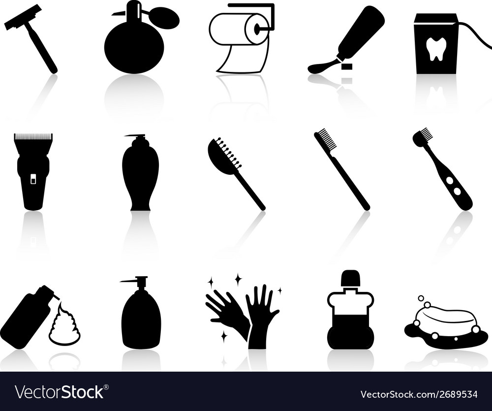 Black bathroom accessories icon set Royalty Free Vector