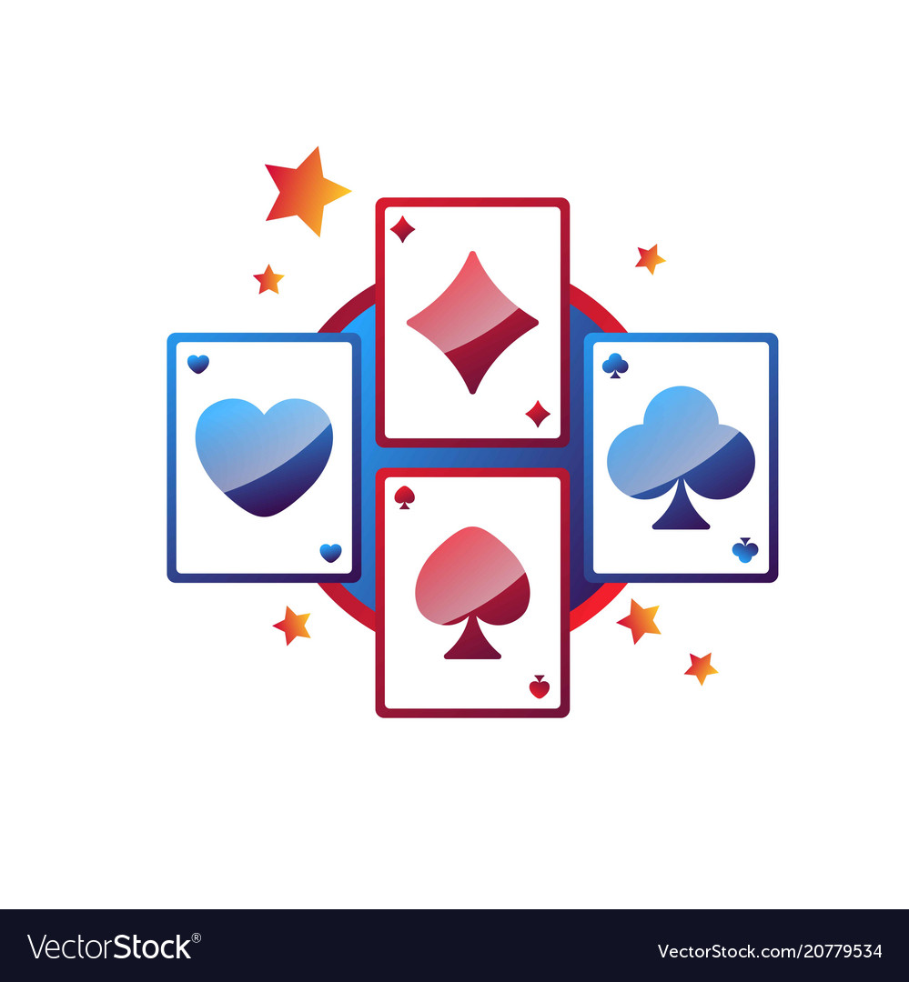 Casino online services promo emblem with play