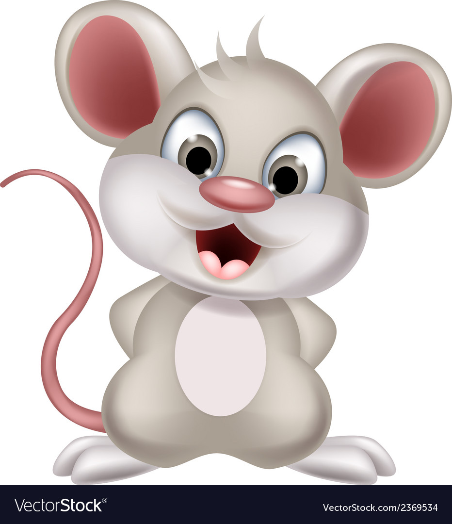 Cute mouse cartoon posing Royalty Free Vector Image