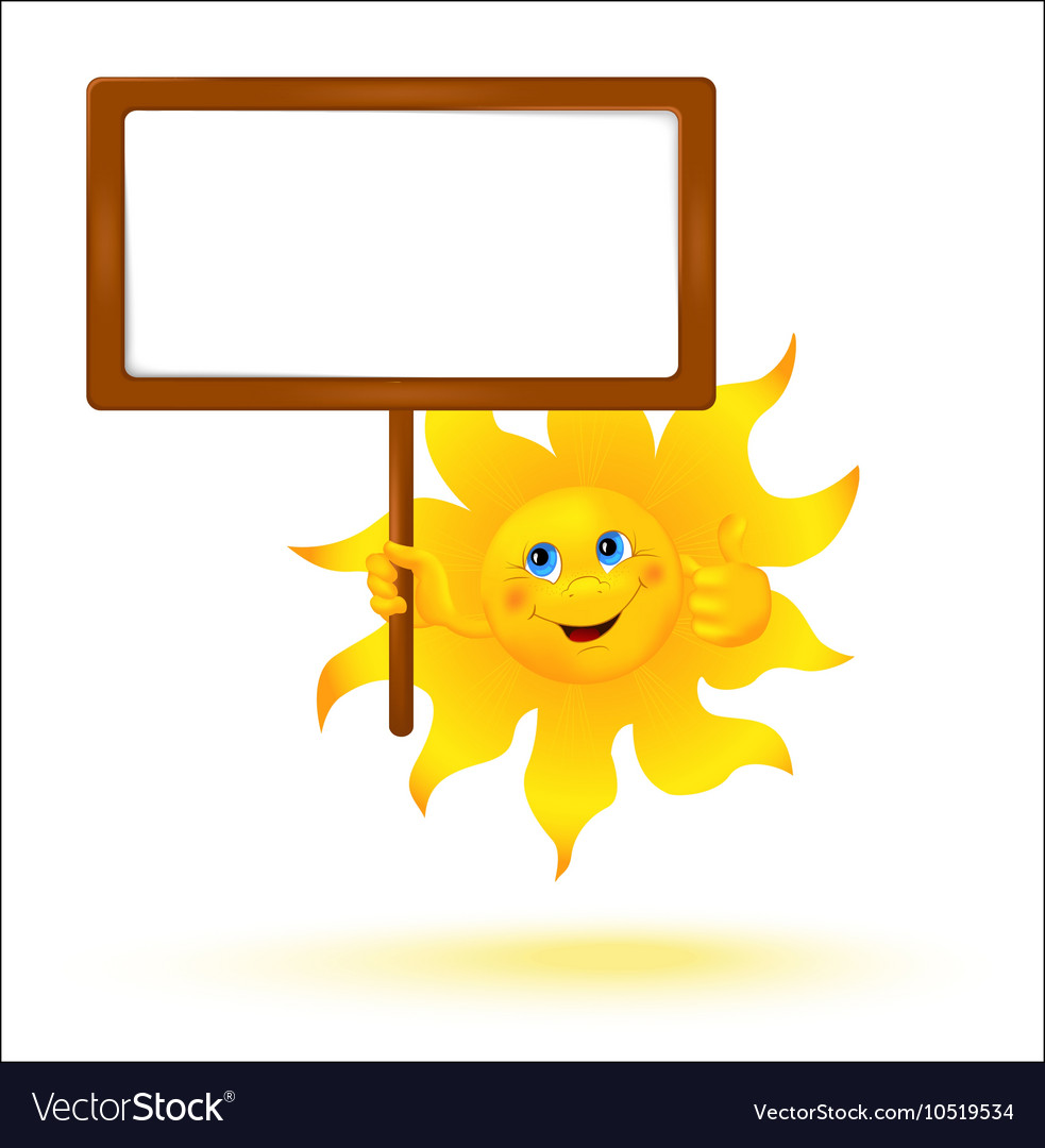 Funny cartoon sun with banner vector image