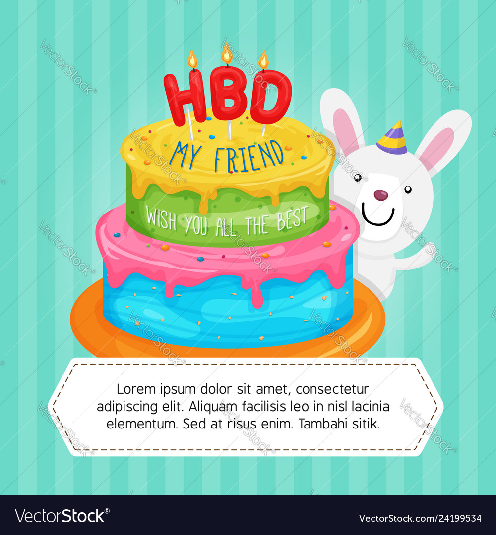 Groovy Happy Birthday Cake With Cute Rabbit Character Vector Image Funny Birthday Cards Online Overcheapnameinfo