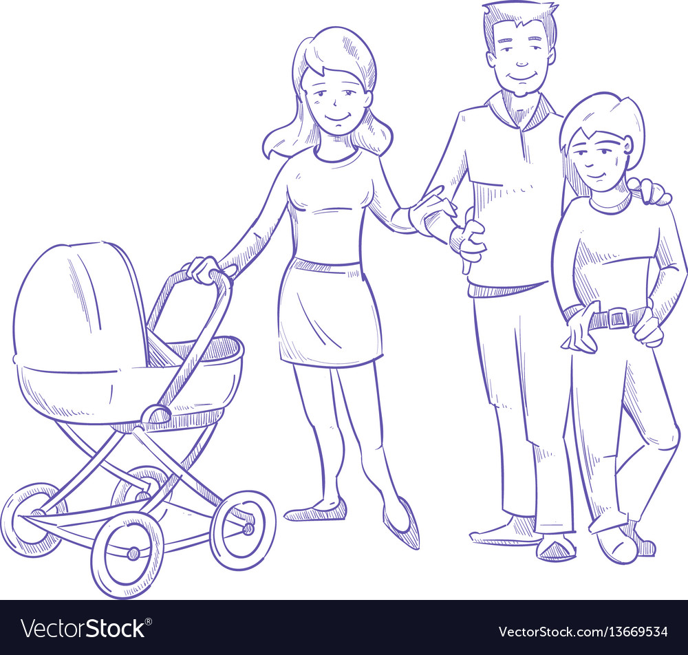 Happy young family with child and baby in stroller