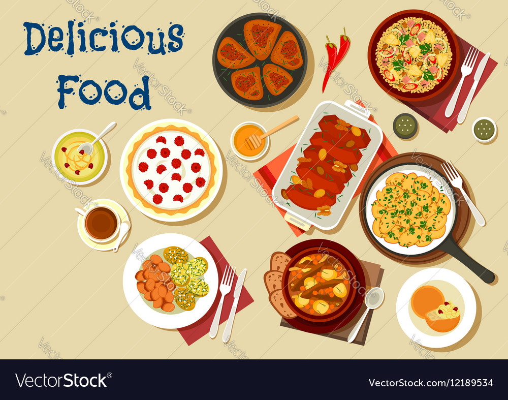 Healthy food dishes icon for dinner menu design vector image