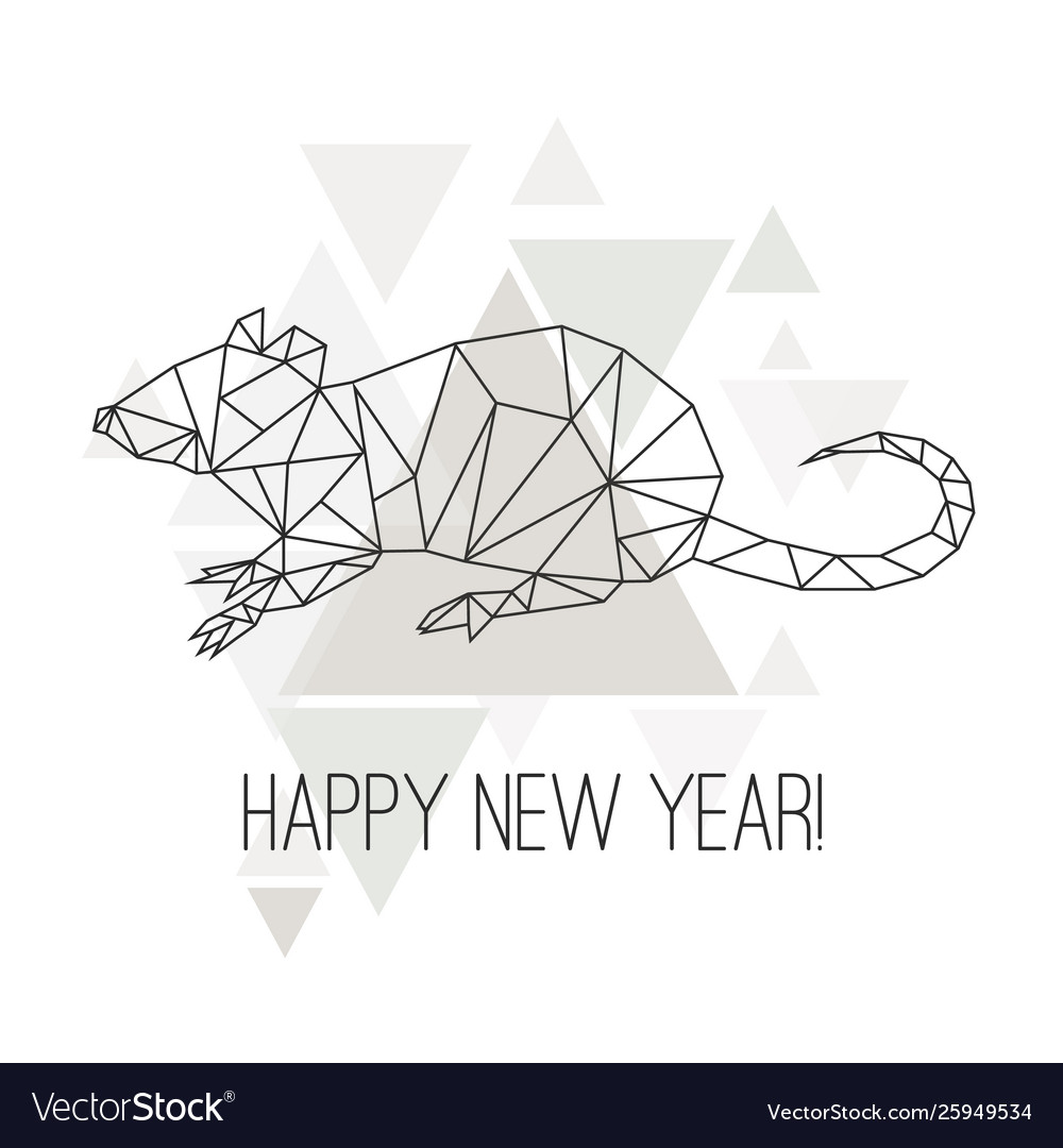 Image low poly rat isolated on white background