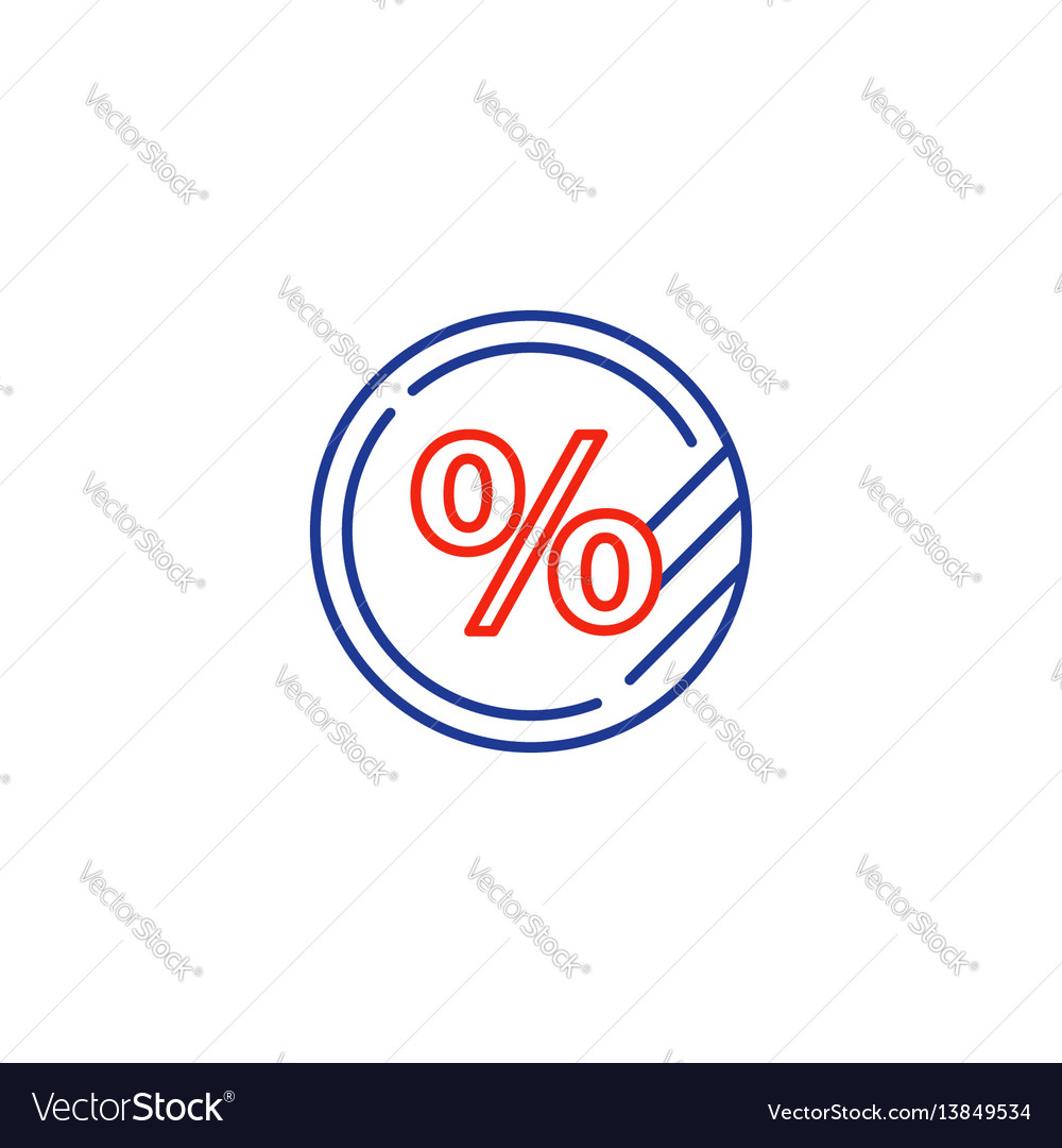 Interest rate concept percentage coin sale sign