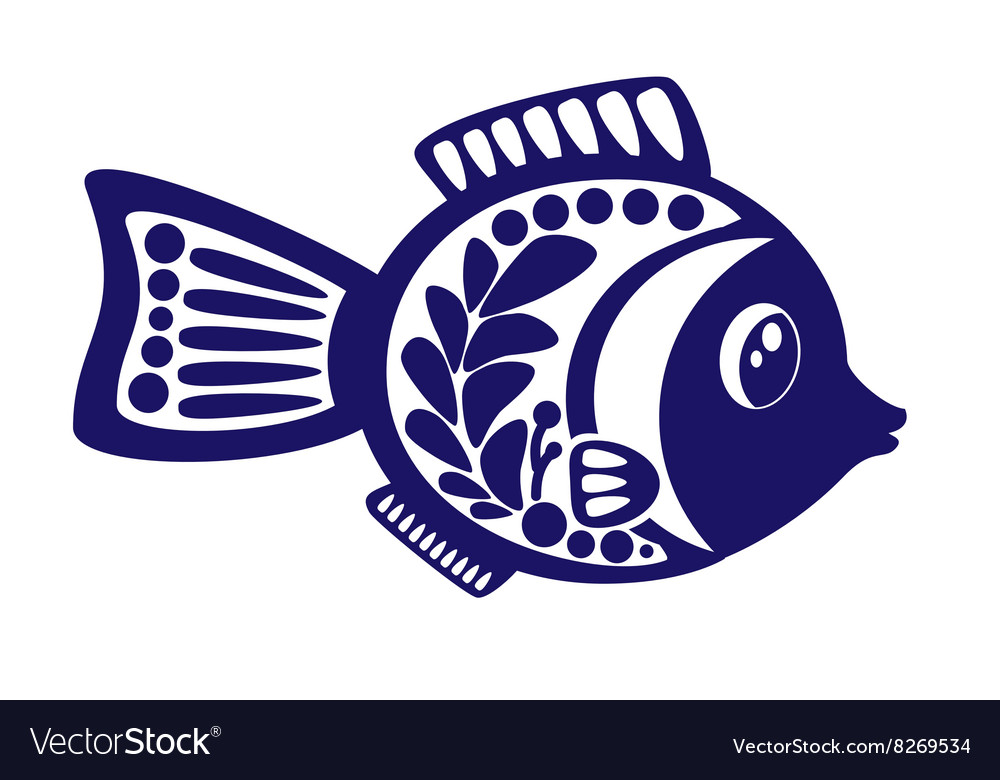 Isolated cartoon fish on white background vector image