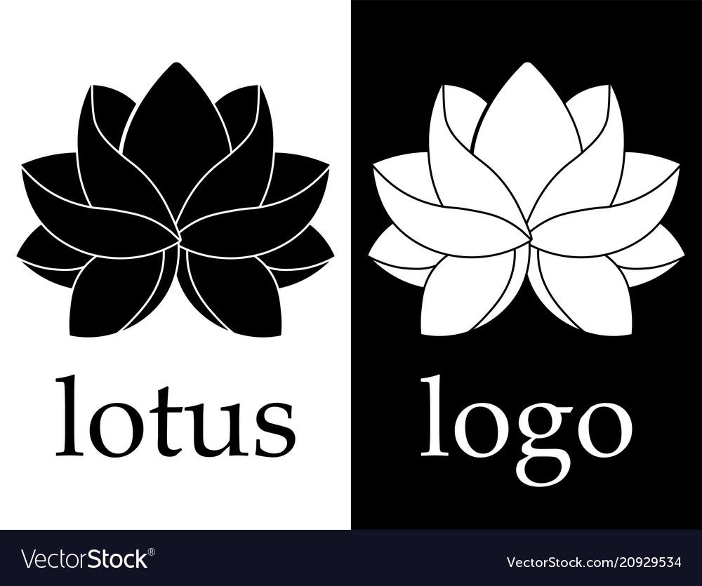Line art black and white lotus flower image vector image
