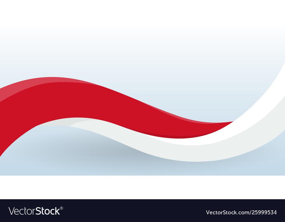 Monaco waving national flag modern unusual shape
