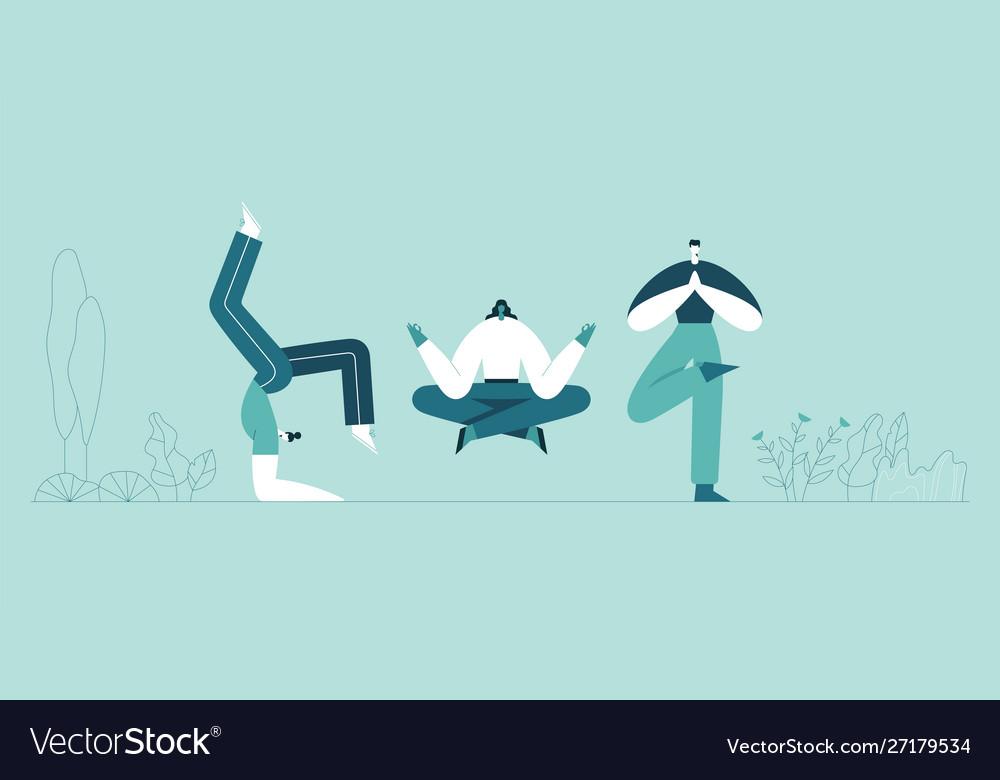 People yoga poses man and woman doing asana