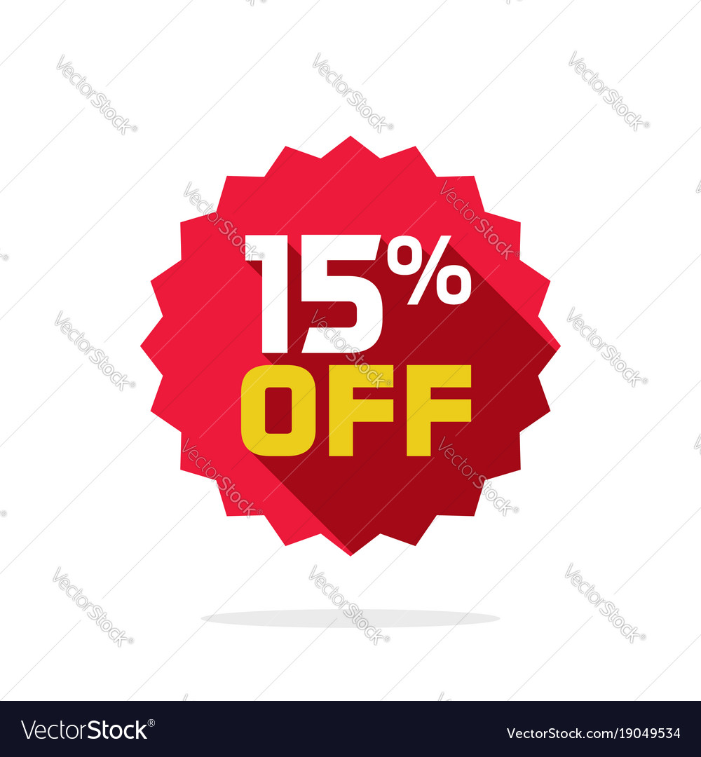 sale tag badge template 15 percent off royalty free vector
