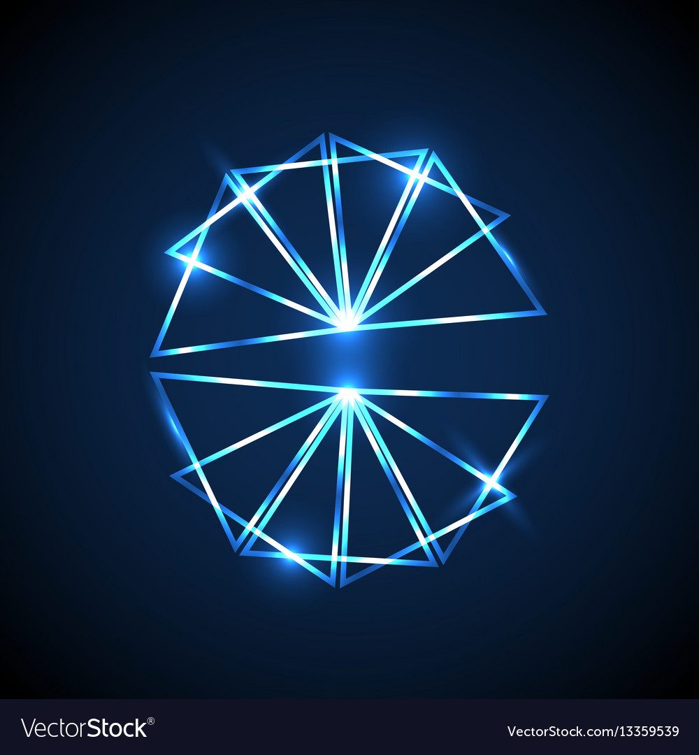 Abstract background with blue neon triangles