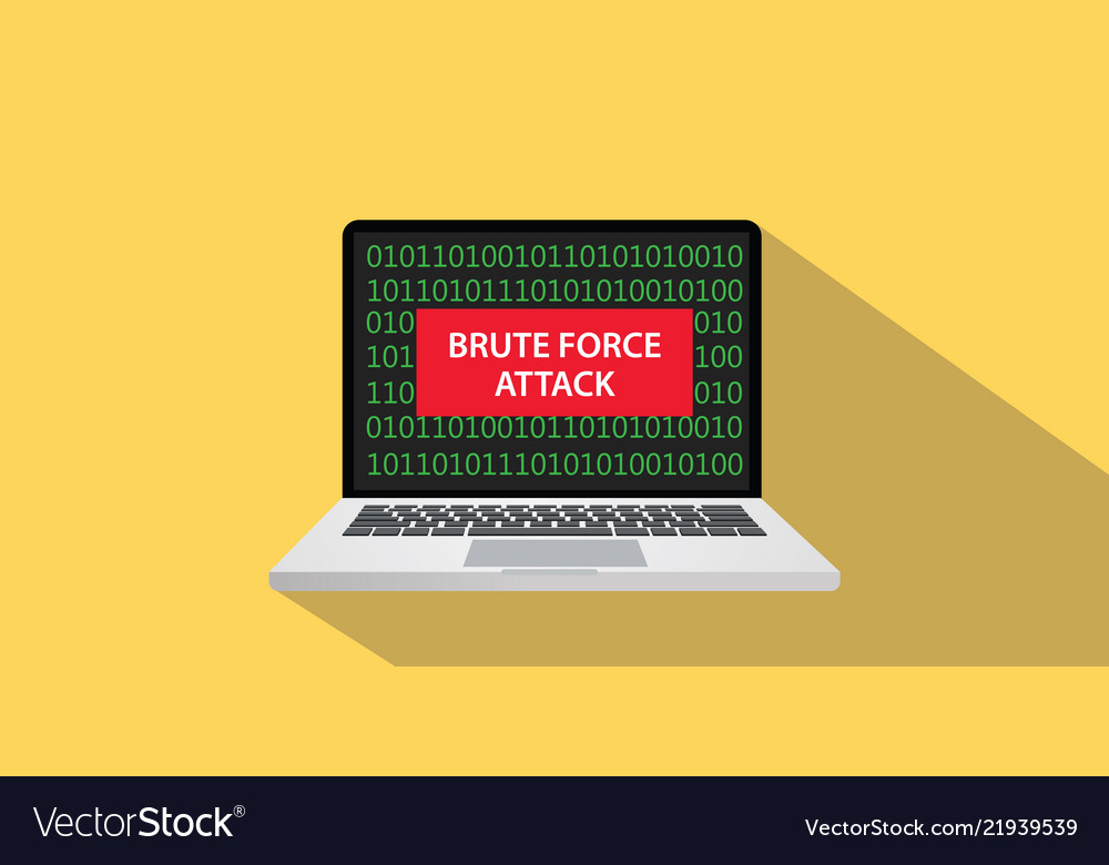 Brute force attack concept with laptop comuputer
