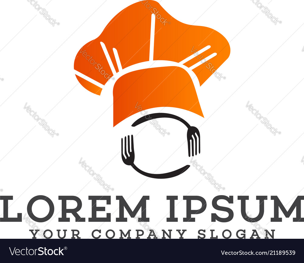 Chef fork and spoon logo design concept template