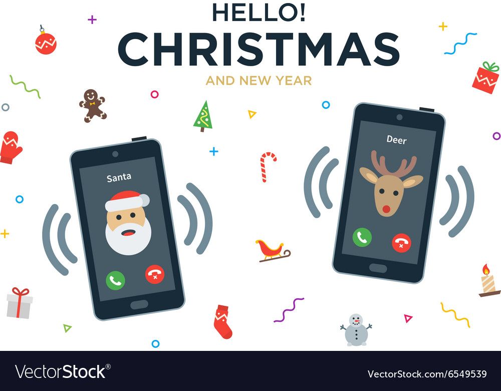 Christmas greeting card with phone call from santa christmas greeting card with phone call from santa vector image m4hsunfo
