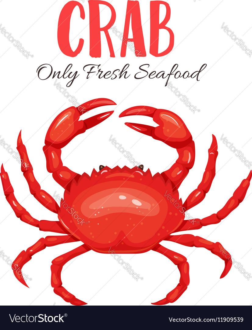 Crab in cartoon style vector image
