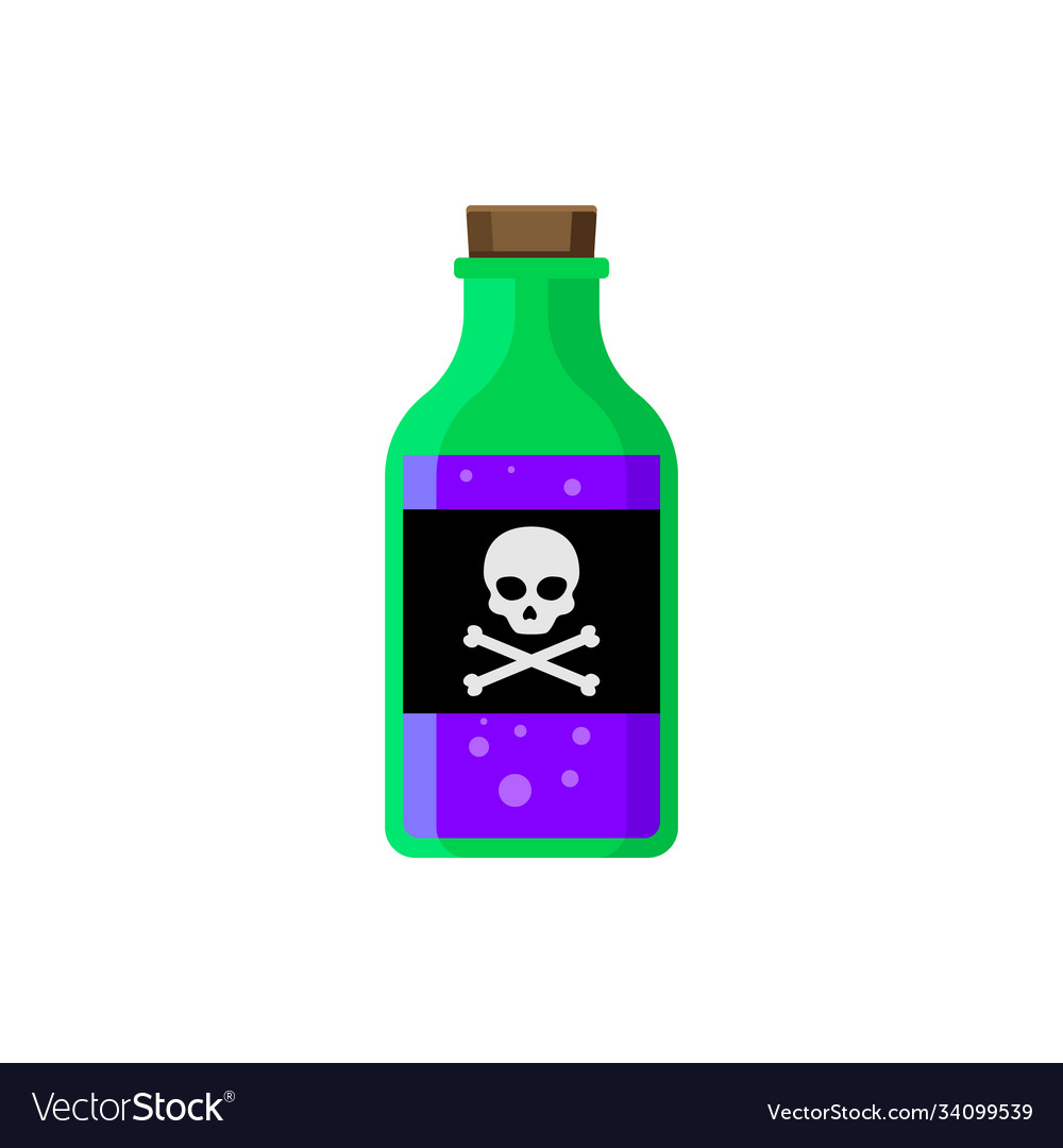 Flat poison bottle icon toxin poison silhouette