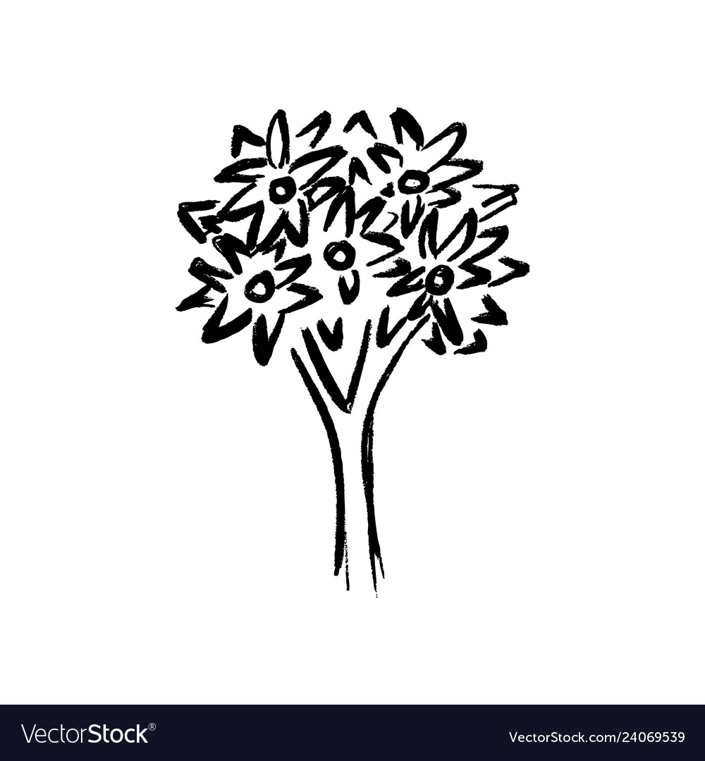 Hand drawing tree on white