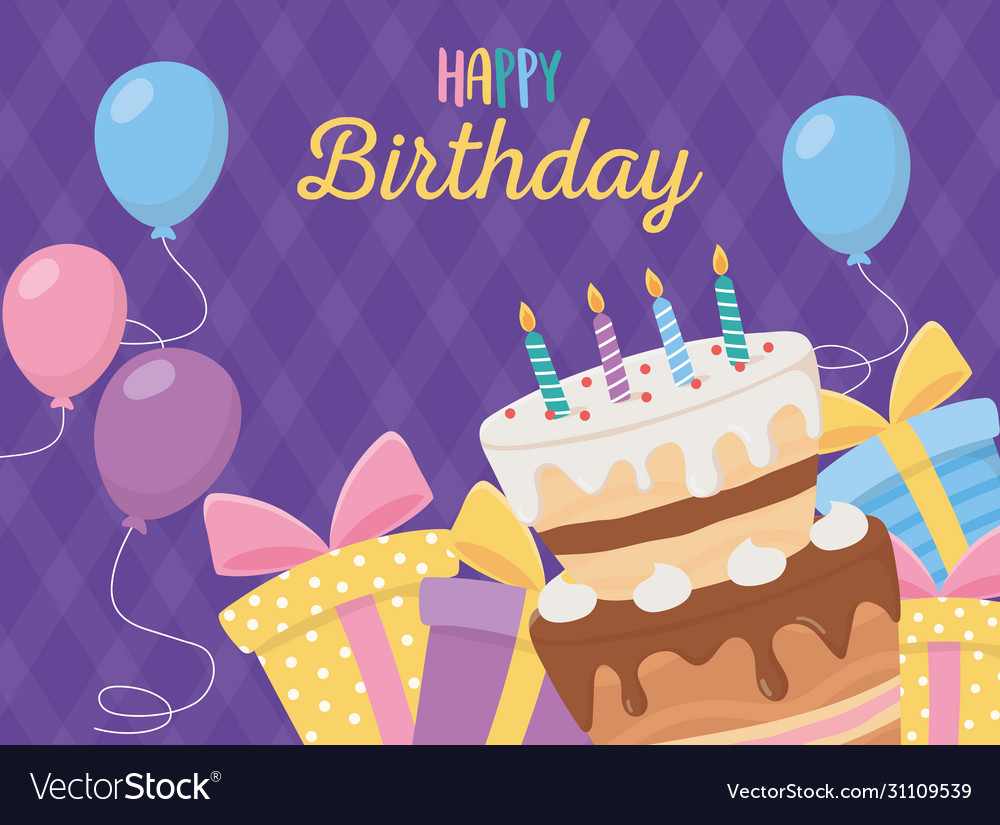 Swell Happy Birthday Cake Candles T Boxes Balloons Vector Image Funny Birthday Cards Online Overcheapnameinfo