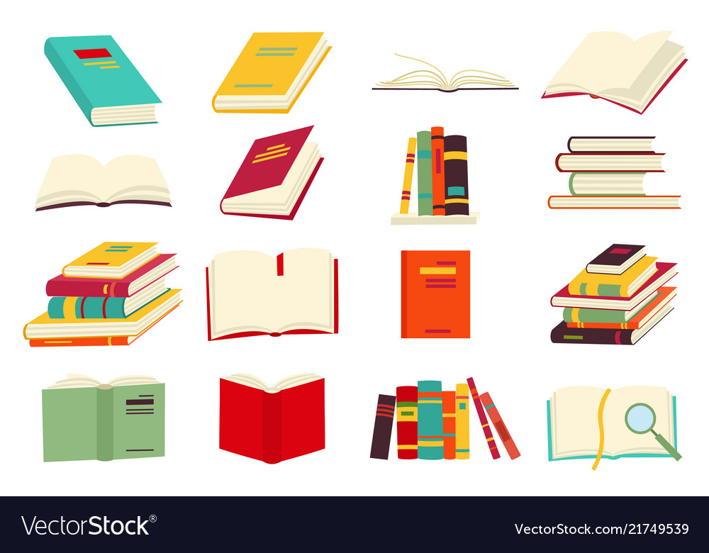 Icons of books set in a flat design style