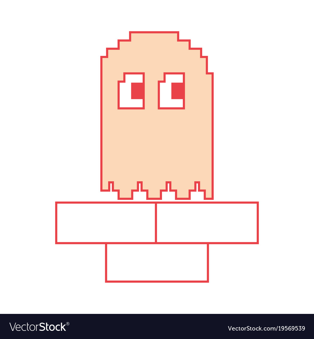 Pixel ghost game play character arcade
