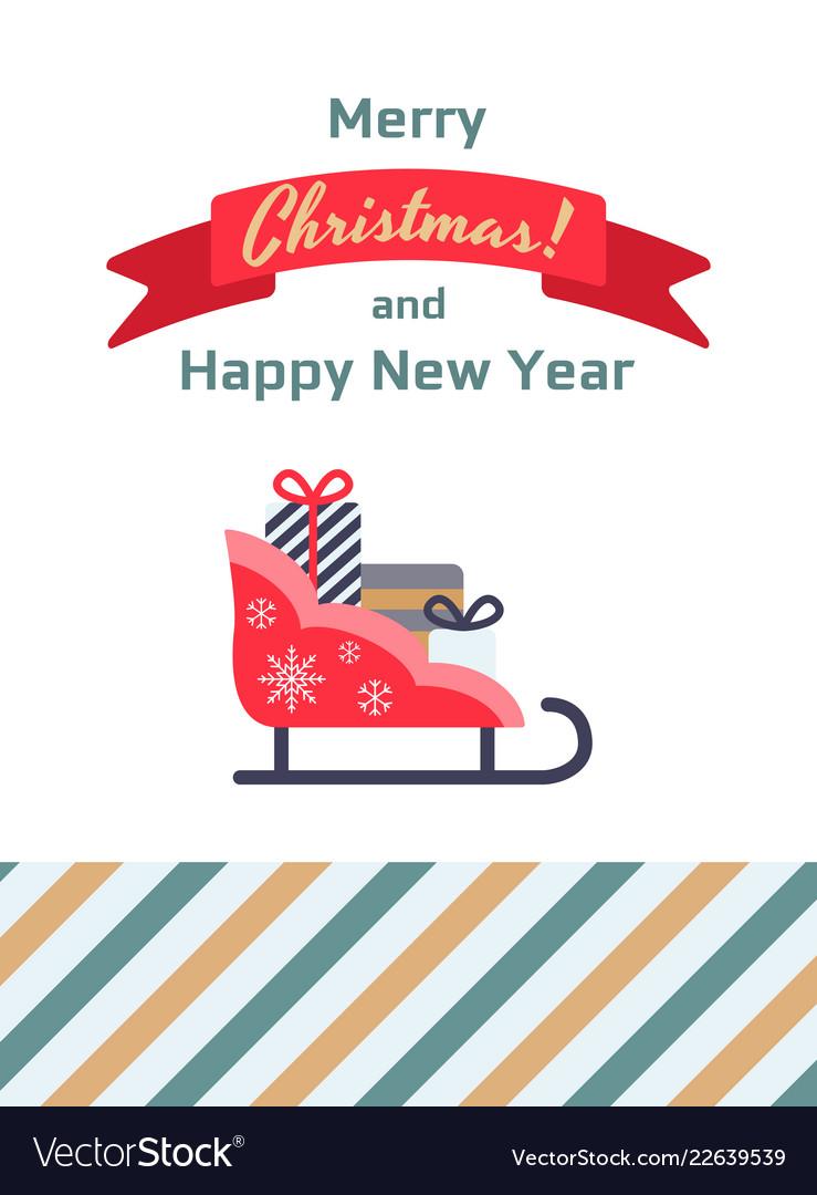 Santa sleigh gifts card