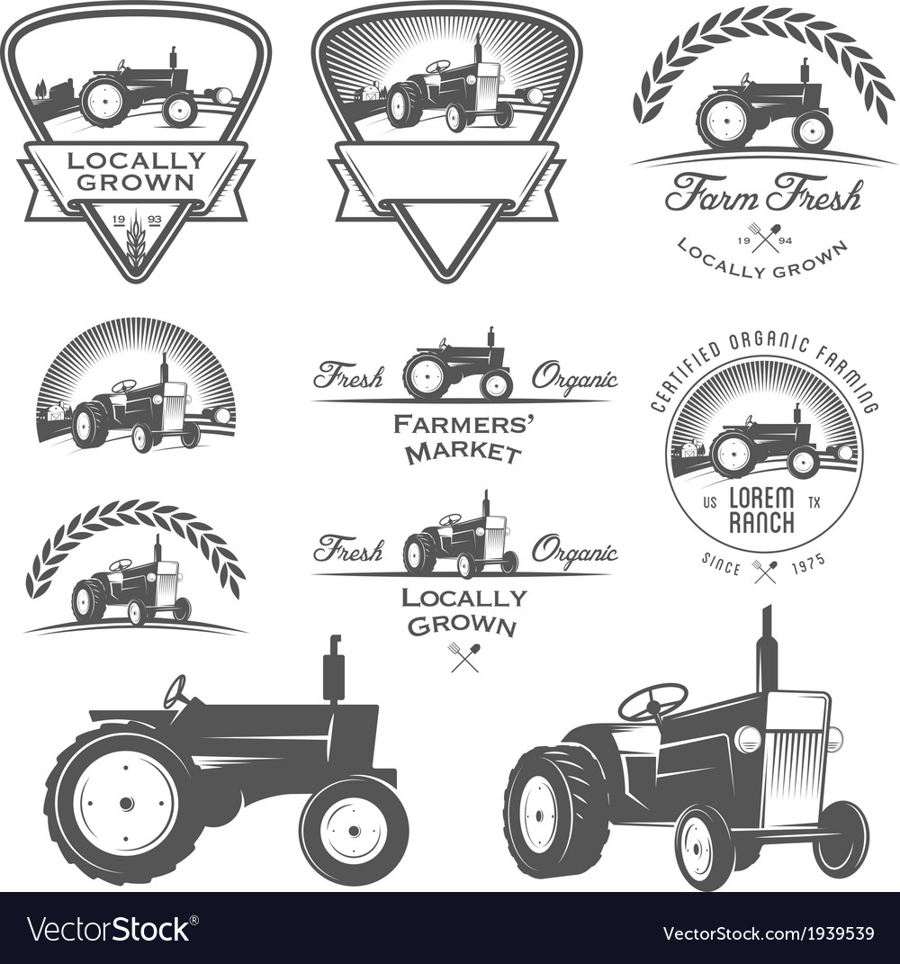 Set of retro farm fresh labels and design elements