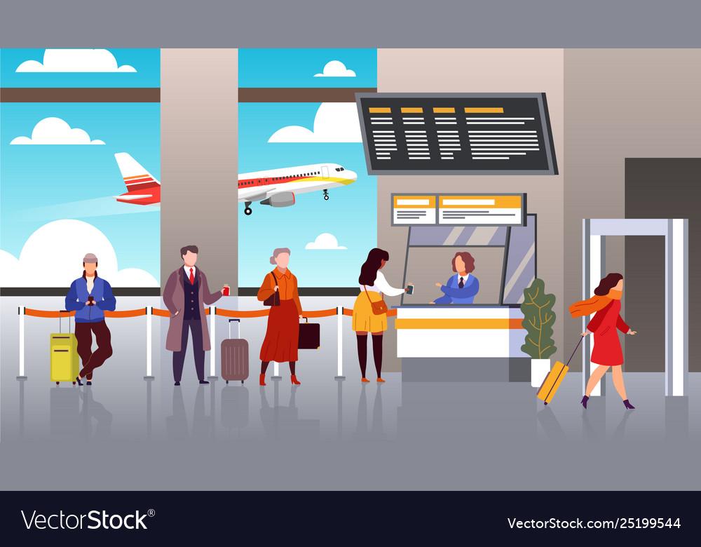 Airport registration people queue departure