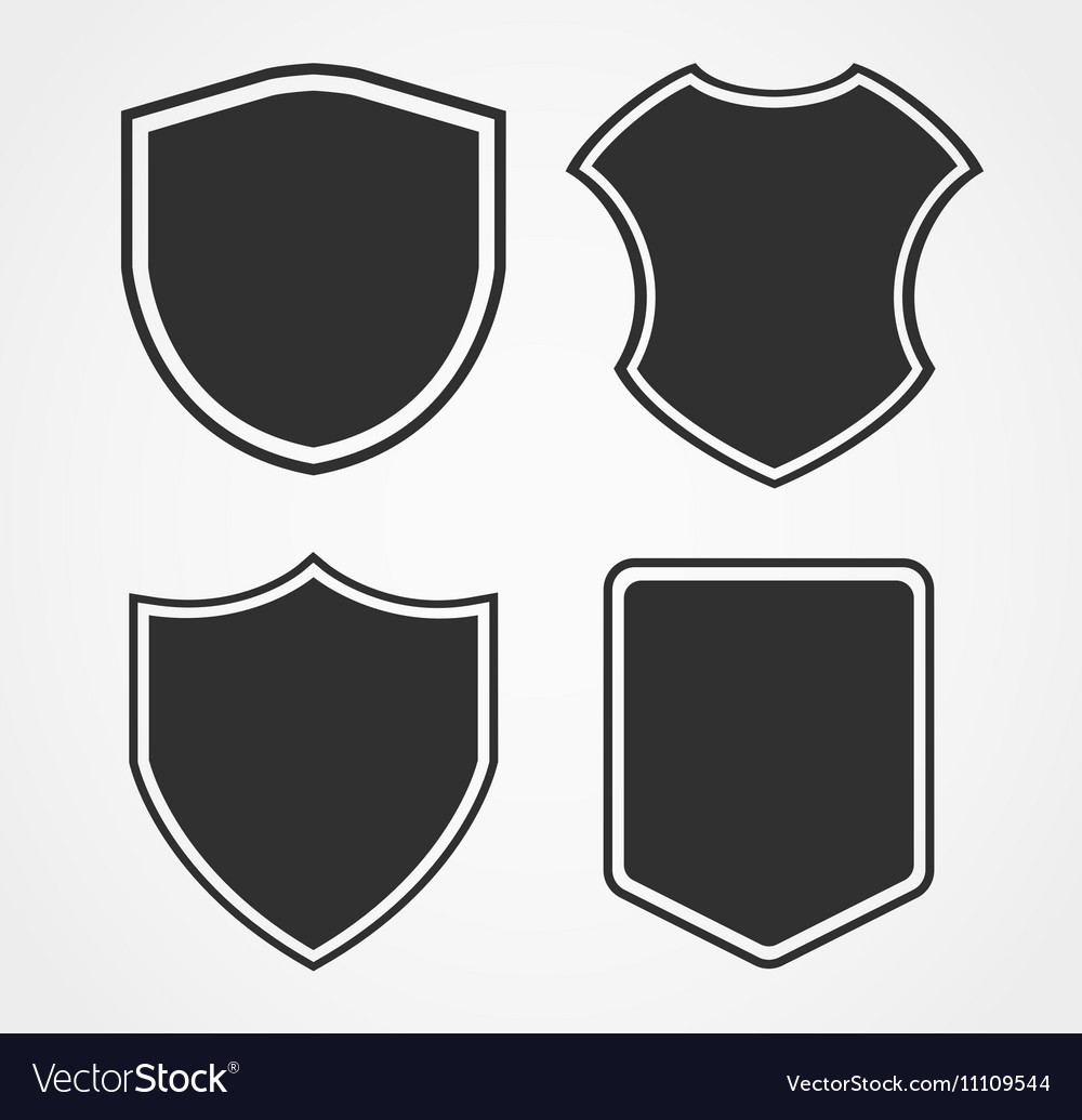 Black shield icon set with different shapes
